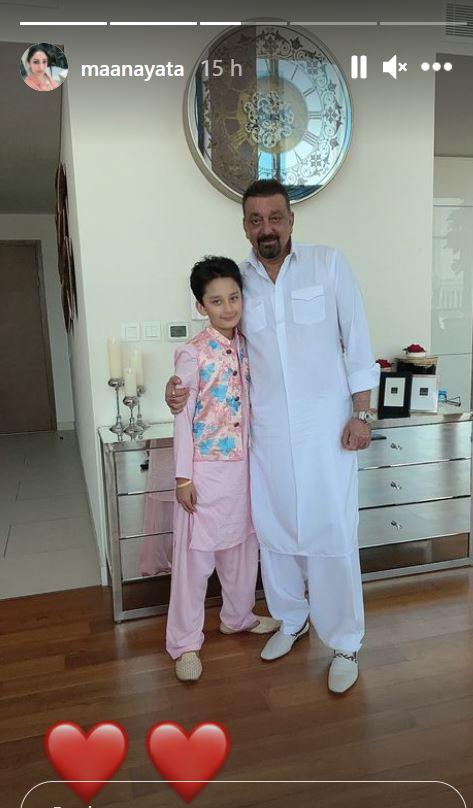 sanjay dutt with son