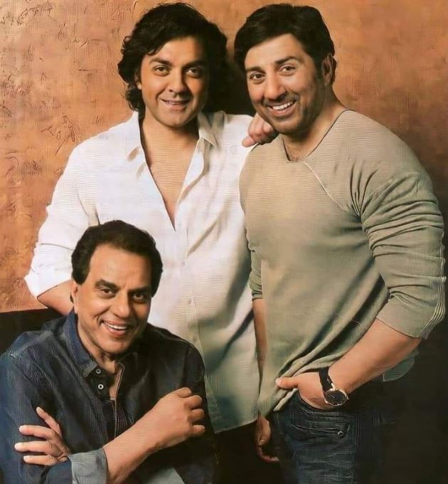 Dharmendra With His Son Sunny And Bobby