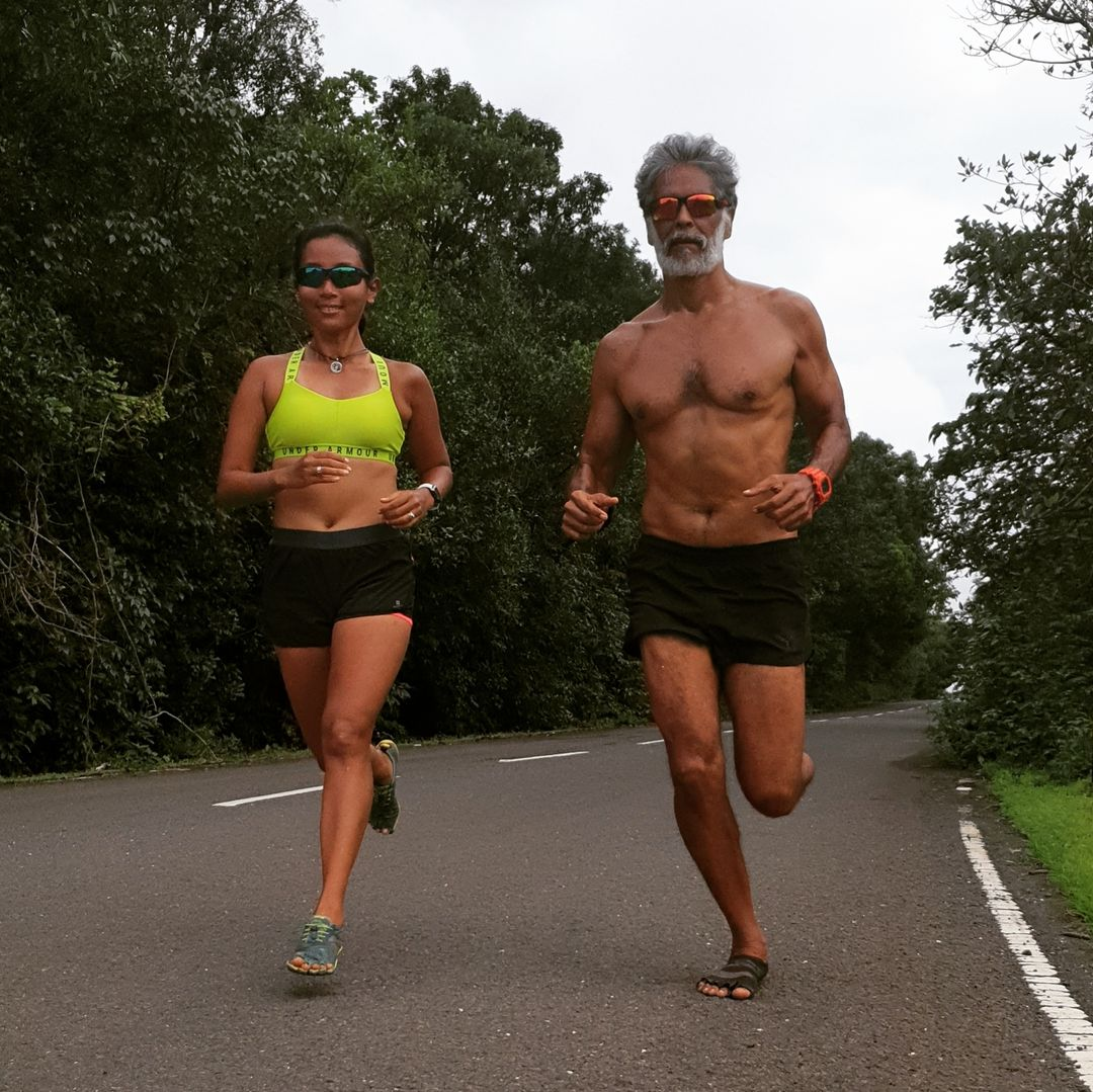 Milind Soman and Ankita Konwar workout photo