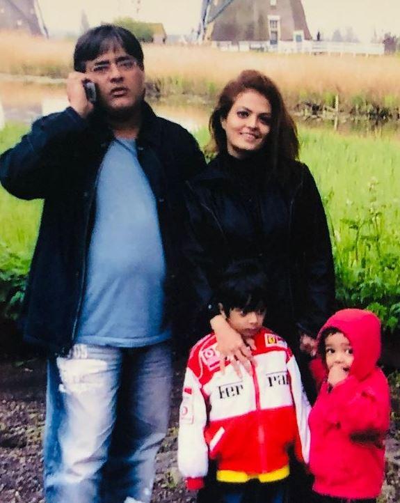 Sheeba With Her Husband Akashdeep And Sons