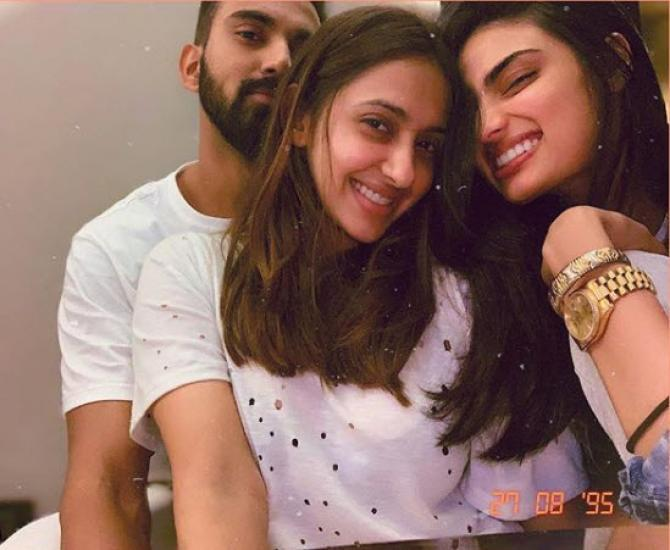 Athiya Shetty With KL Rahul and friend