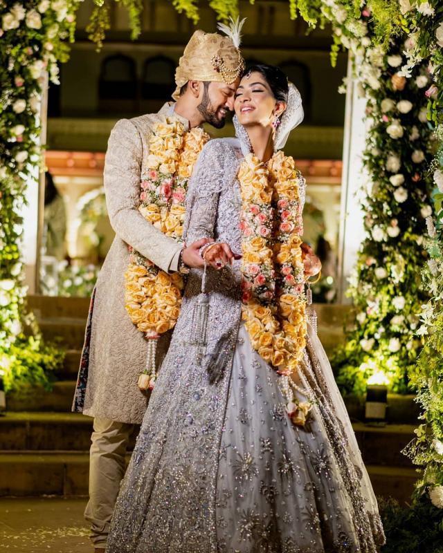 indian bride wearing silver gown in nikaah