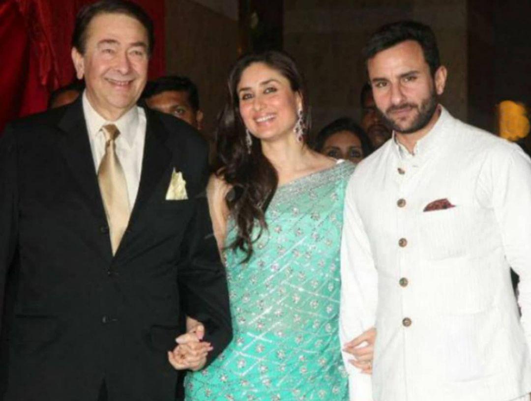 kareena kapoor khan with saif ali khan and randhir kapoor
