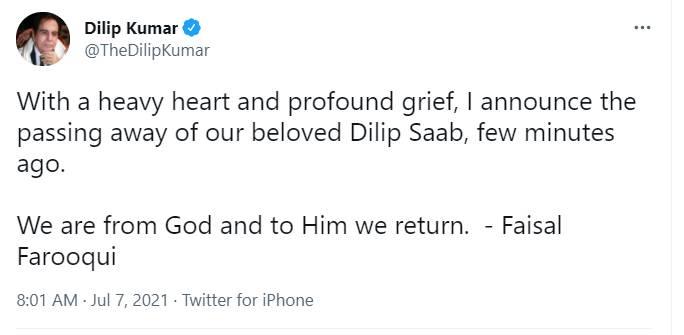 Dilip Kumar Death