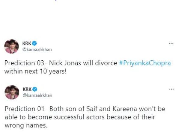 kamaal rashid khan tweet on kareena kapoor sons