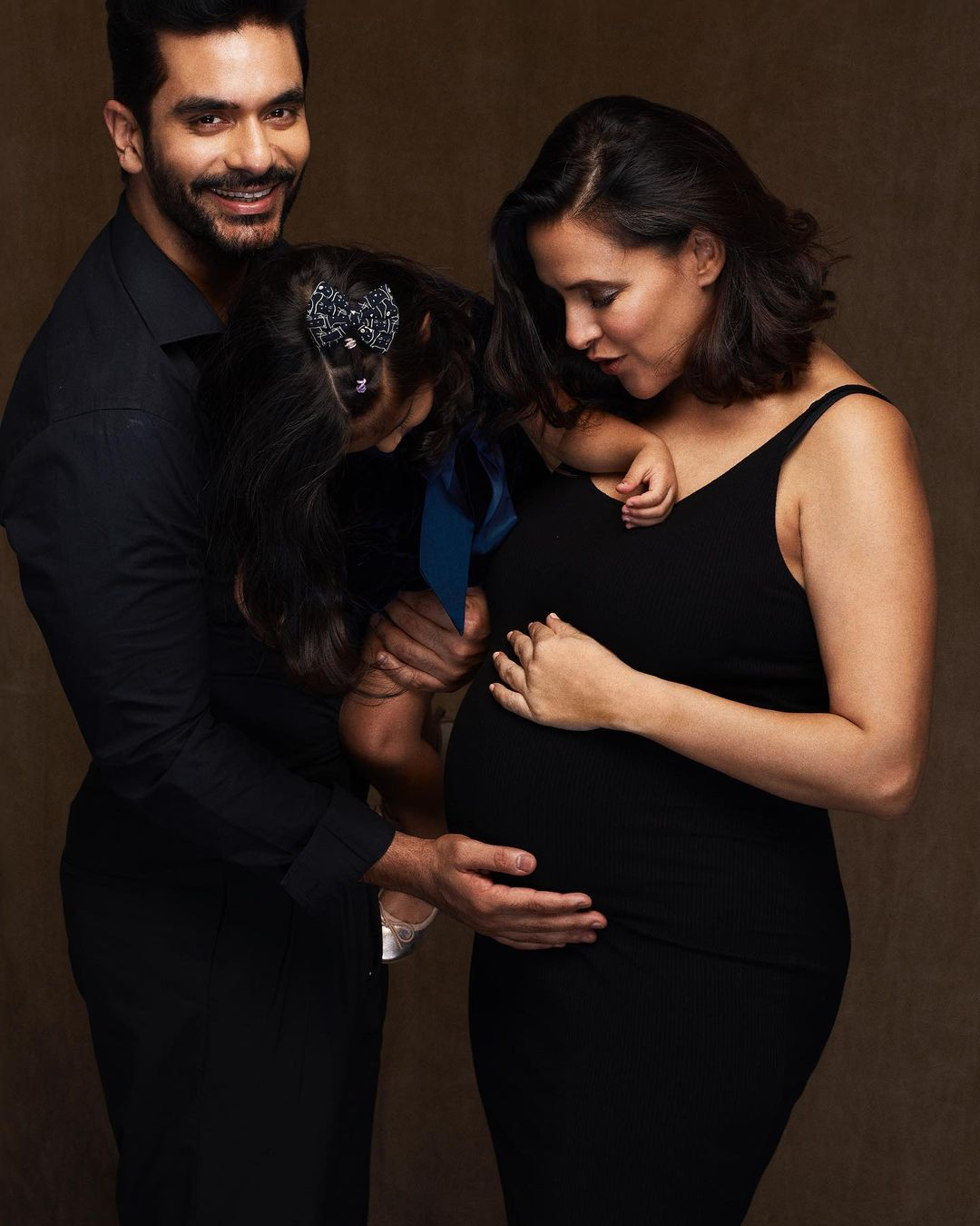 Neha Dupia And Angad Bedi With Daughter