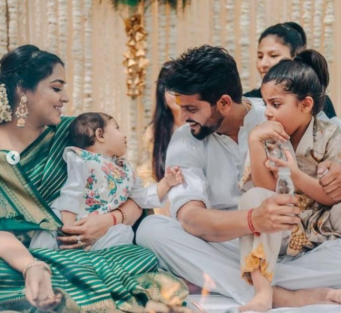 Suresh Raina With Wife Priyanka and Children