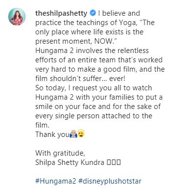 shilpa shetty post