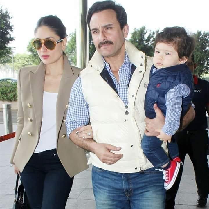 Saif Ali Khan With Wife Kareena And Son Taimur