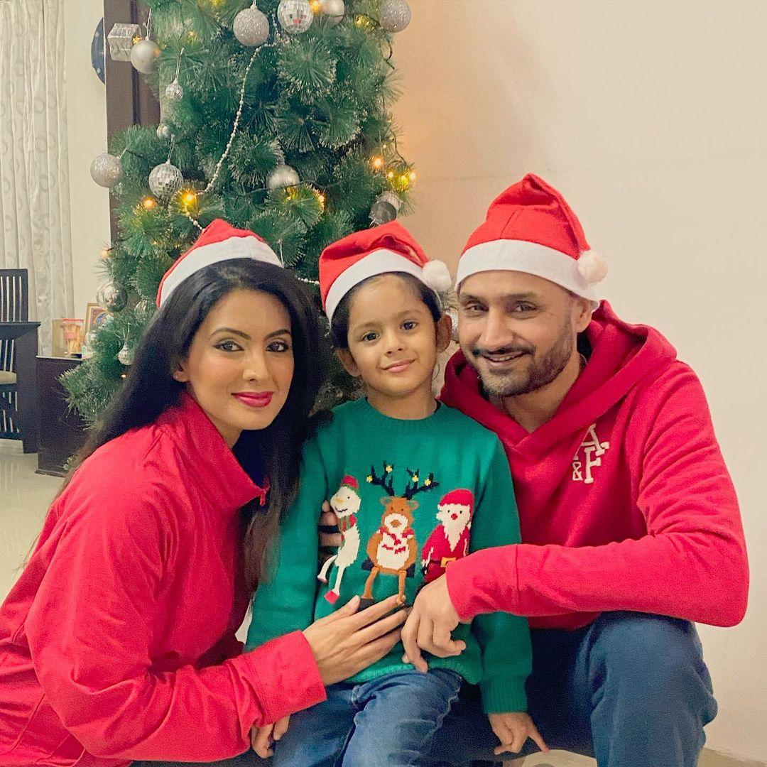 Harbhajan Singh And Geeta Basra With Hinaya
