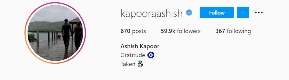 Ashish Kapoor Insta Profile