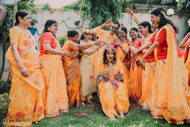 haldi ceremony bridal pose