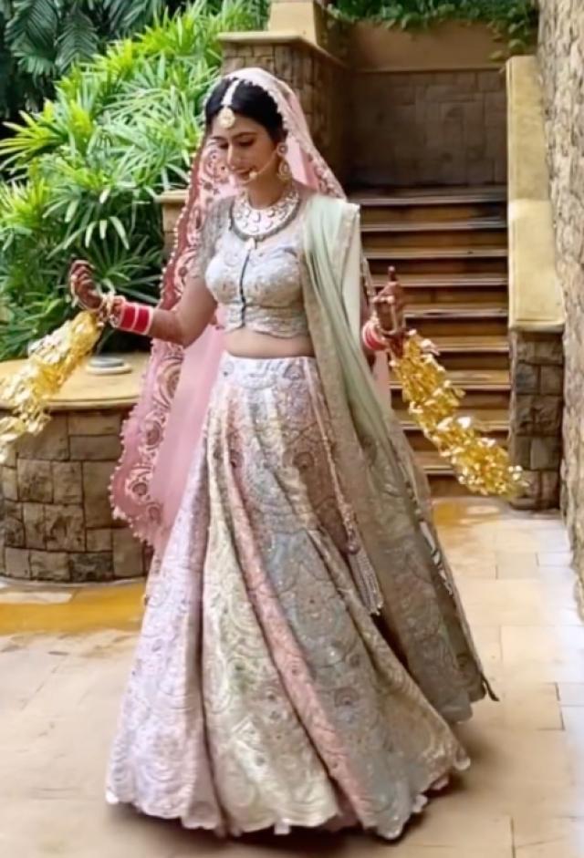 Bride In Pastel Coloured Lehenga