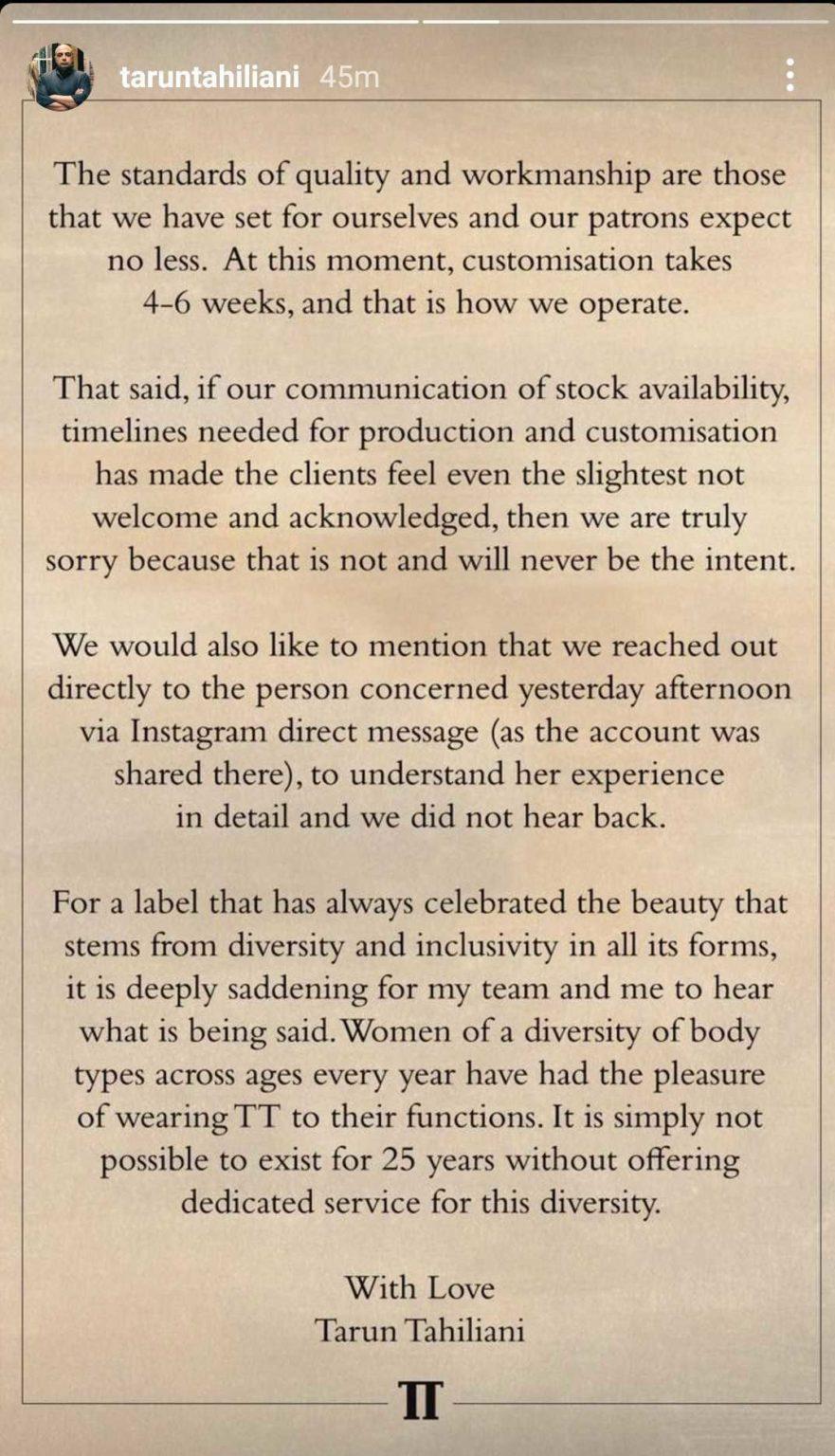 Tarun Tahiliani's note