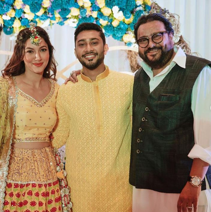 Gauhar Khan With Hubby Zaid And Father In Law Ismail