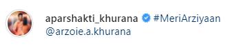 Aparshakti Khurana post