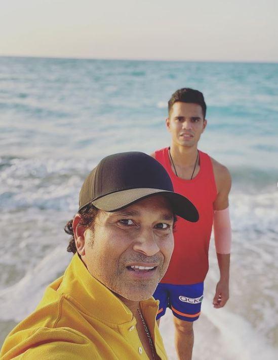 Sachin Tendulkar With His Son Arjun