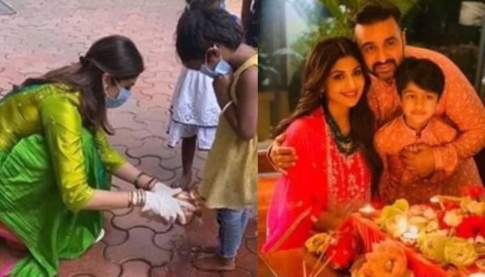 शिल्पा शेट्टी ने बेटी समीशा संग धोए 9 कन्याओं के पैर, वीडियो शेयर कर लिखा- 'इस साल मुंह पर मास्क है'