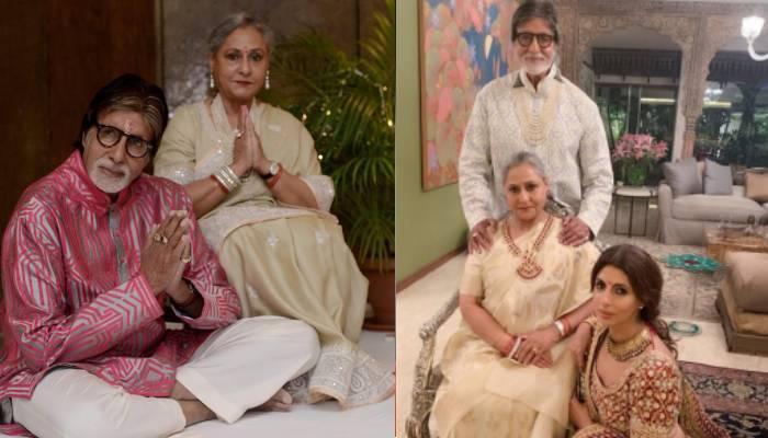 अमिताभ बच्चन ने पत्नी जया और बेटी श्वेता संग शेयर की खास फोटो, ट्रेडिशनल कपड़ों में नजर आई फैमिली