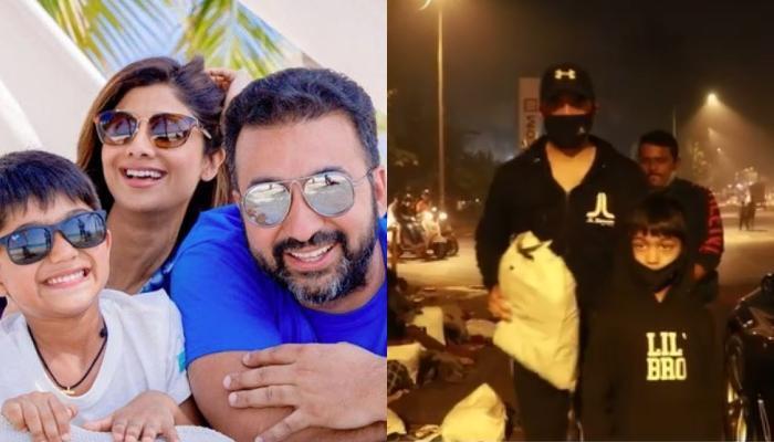 शिल्पा शेट्टी के पति राज कुंद्रा बेटे वियान के साथ गरीबों को कंबल बांटते आए नजर, शेयर किया वीडियो
