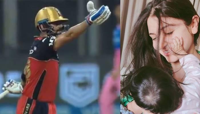 विराट कोहली ने मैच के बीच बेटी वामिका और वाइफ अनुष्का को दी फ्लाइंग किस, वायरल हो रहा वीडियो